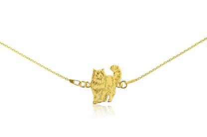 Naszyjnik z kotem ragdoll złotym na łańcuszku