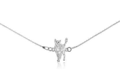 Naszyjnik z kotem rosyjskim srebrnym na łańcuszku