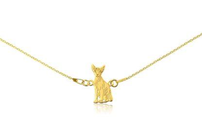 Naszyjnik z kotem sfinksem złotym na łańcuszku