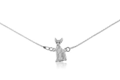 Naszyjnik z kotem sfinksem srebrnym na łańcuszku