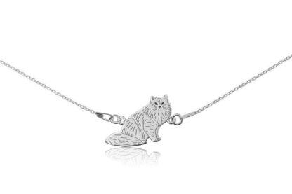 Naszyjnik z kotem syberyjskim srebrnym na łańcuszku