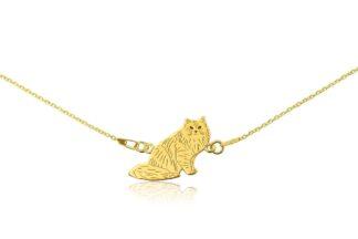 Naszyjnik z kotem syberyjskim złotym na łańcuszku