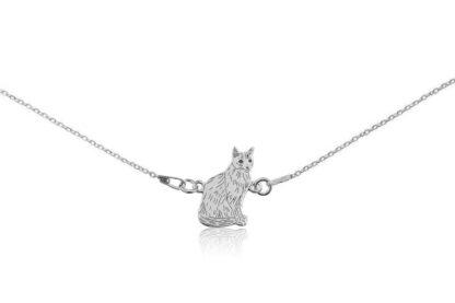 Naszyjnik z kotem syjamskim srebrnym na łańcuszku