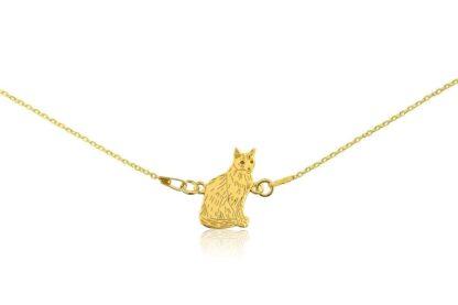 Naszyjnik z kotem syjamskim złotym na łańcuszku