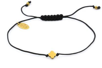 Bransoletka - Złota hematytowa koniczynka na czarnym sznurku