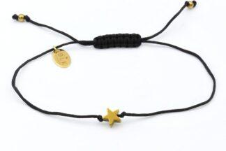 Bransoletka Złota hematytowa gwiazdka na czarnym sznurku