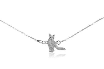 Naszyjnik z kotem turecka angora srebrnym na łańcuszku