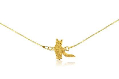 Naszyjnik z kotem turecka angora złotym na łańcuszku