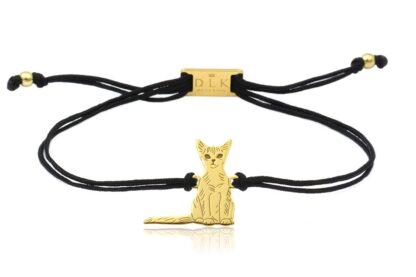 Bransoletka z kotem abisyńskim złotym na sznurku