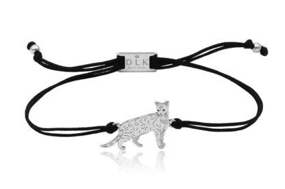 Bransoletka z kotem bengalskim srebrnym na sznurku