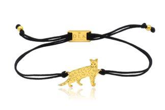 Bransoletka z kotem bengalskim złotym na sznurku