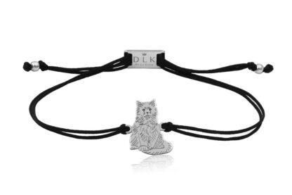 Bransoletka z kotem birmańskim srebrnym na sznurku