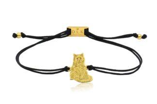 Bransoletka z kotem birmańskim złotym na sznurku