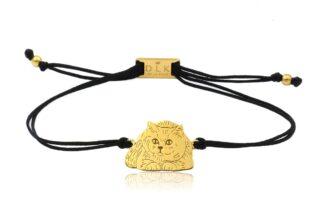 Bransoletka z kotem brytyjskim złotym na sznurku