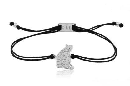 Bransoletka z kotem dachowcem srebrnym na sznurku