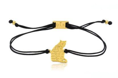 Bransoletka z kotem dachowcem złotym na sznurku