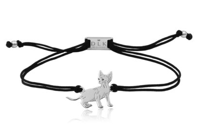 Bransoletka z kotem devon rex srebrnym na sznurku