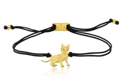 Bransoletka z kotem devon rex złotym na sznurku