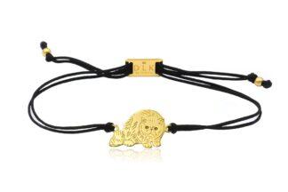 Bransoletka z kotem egzotycznym złotym na sznurku