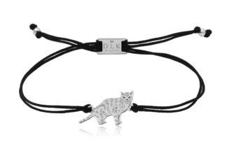 Bransoletka z kotem europejskim srebrnym na sznurku