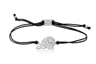 Bransoletka z kotem egzotycznym srebrnym na sznurku