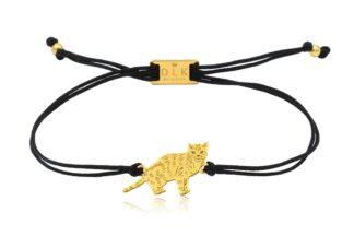 Bransoletka z kotem europejskim złotym na sznurku