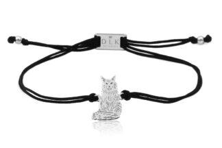 Bransoletka z kotem main coon srebrnym na sznurku
