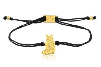Bransoletka z kotem main coon złotym na sznurku