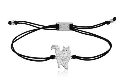 Bransoletka z kotem norweskim srebrnym na sznurku