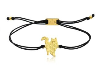 Bransoletka z kotem norweskim złotym na sznurku