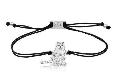 Bransoletka z kotem perskim srebrnym na sznurku