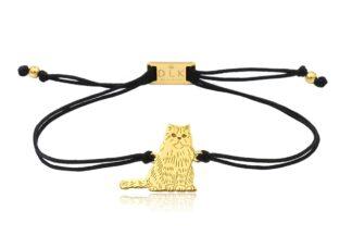 Bransoletka z kotem perskim złotym na sznurku