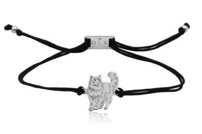 Bransoletka z kotem ragdoll srebrnym na sznurku