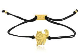 Bransoletka z kotem ragdoll złotym na sznurku