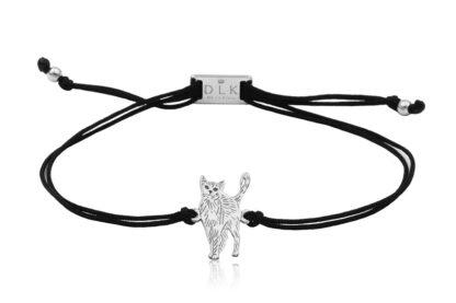 Bransoletka z kotem rosyjskim srebrnym na sznurku