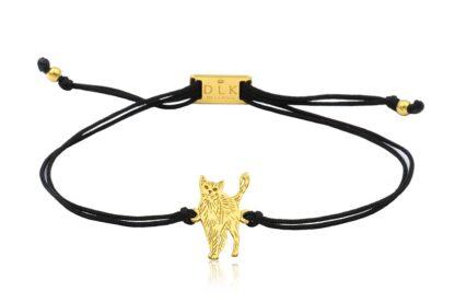 Bransoletka z kotem rosyjskim złotym na sznurku
