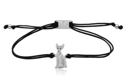 Bransoletka z kotem sfinksem srebrnym na sznurku