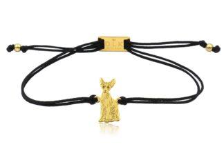 Bransoletka z kotem sfinksem złotym na sznurku