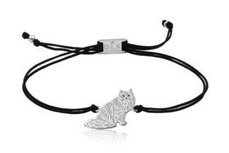 Bransoletka z kotem syberyjskim srebrnym na sznurku