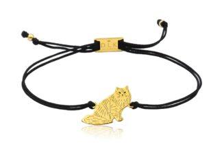 Bransoletka z kotem syberyjskim złotym na sznurku