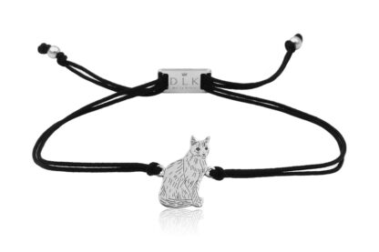 Bransoletka z kotem syjamskim srebrnym na sznurku