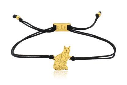 Bransoletka z kotem syjamskim złotym na sznurku