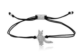 Bransoletka z kotem turecka angora srebrnym na sznurku