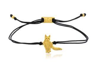 Bransoletka z kotem turecka angora złotym na sznurku