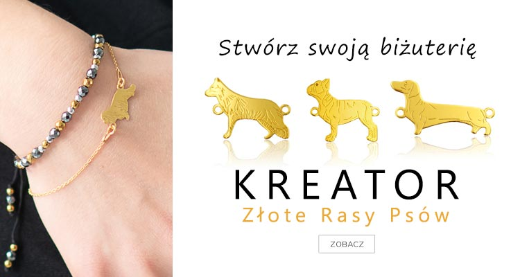 Kreator biżuterii ze srebra z rasami psów