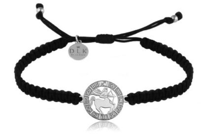 Bransoletka ze znakiem zodiaku STRZELEC srebrny na czarnej makramie