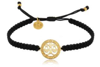 Bransoletka ze znakiem zodiaku WAGA złota na czarnej makramie