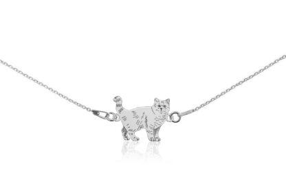 Naszyjnik z kotem brytyjskim srebrnym na łańcuszku