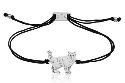Bransoletka z kotem brytyjskim srebrnym na sznurku