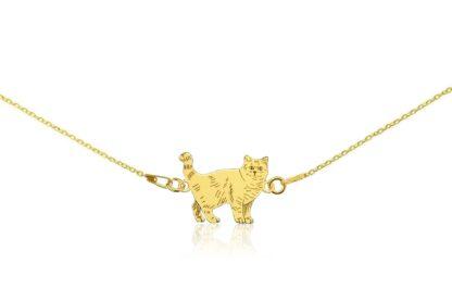 Naszyjnik z kotem brytyjskim złotym na łańcuszku